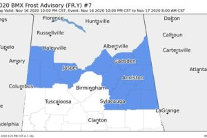Frost Advisory for Northern Parts of Central Alabama Until 8 AM Tuesday