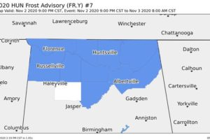 Frost Advisory for All of North Alabama for Tonight Through the Overnight Hours