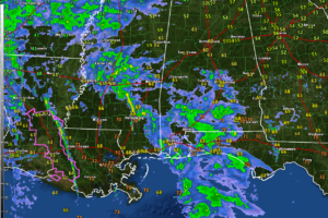 Showers and Storms Lifting Northward Across Alabama and Mississippi