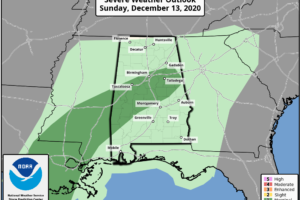 Marginal Severe Weather Risk Along Low Pressure Track Tonight into Alabama