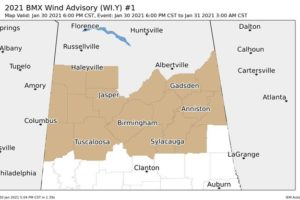 Tuscaloosa & Pickens Counties Added to Wind Advisory