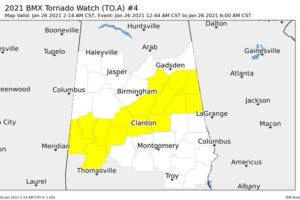 NWS Birmingham Clears A Few Counties From the Tornado Watch