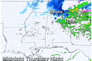 A Cold Rain Tomorrow; Some Snow For North Alabama Tomorrow Night???