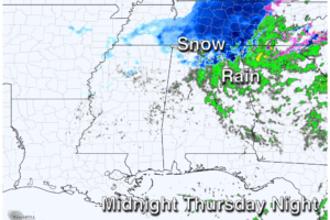 Rain Returns Tomorrow; Some Snow For Far North Alabama Tomorrow Night?