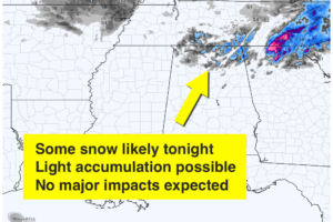 Some Snow For Far North Alabama Tonight
