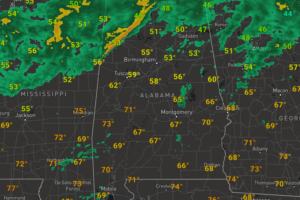 Midday Nowcast: Rain North, Clouds Elsewhere