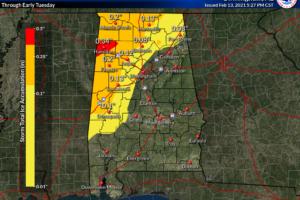 8:15 p.m. Update on Alabama's Weather:  Quiet Tonight and Much of Sunday; Freezing Rain and Rain Sunday Night, Again Monday