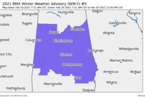 Winter Weather Advisory Issued Until Noon Today for All of Central Alabama