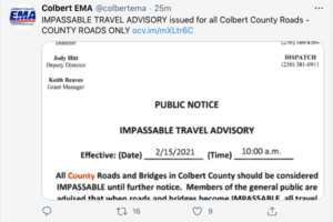 All Roads in Colbert County Considered Impassable by EMA