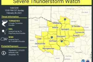New Severe Thunderstorm Watch for Portions of Northeast Texas, Northwest Louisiana and Southern Arkansas