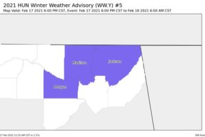 Winter Storm Warning Extended for Portions of North Alabama, Winter Weather Advisory Issued