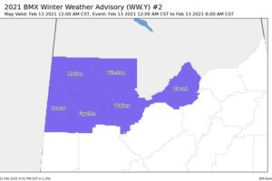 Winter Weather Advisory Issued for Portions of Central Alabama Until 8:00 am Saturday
