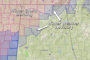 Snow/Sleet Approaching Northwest Alabama