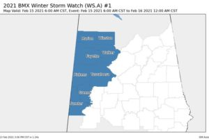 Winter Storm Watch & Winter Weather Advisory Issues for Parts of Central Alabama