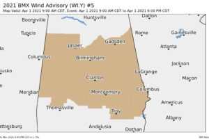 Wind Advisory for All of Central Alabama for Much of Thursday