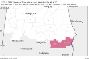 Only Two Counties Remain in the Severe Thunderstorm Watch