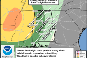 Strong/Severe Storms Move Into Alabama Late Tonight