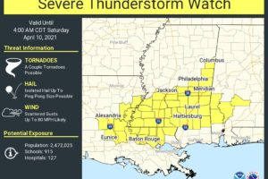 New Severe Thunderstorm Watch for Parts of Louisiana, Mississippi, and Southwest Alabama