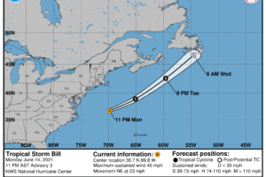 Tropical Storm Bill Forms Offshore of the Atlantic Coast; Expected to be Short Lived
