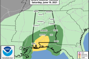 Rain Over South Alabama Tonight; Statewide Tomorrow