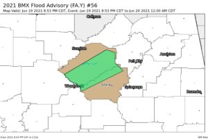 Exploding Storms Over West Alabama:  Flood Advisory for Jefferson and Shelby Counties