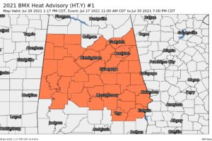 Heat Advisory for Central Alabama Extended Through Friday Evening