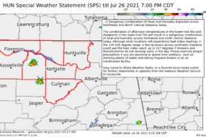 NWS Huntsville Issues a Special Weather Statement on Today's Heat