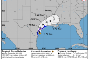 1 pm Advisory — Nicholas Continues to Move Erratically Northward Toward the South Texas Shoreline