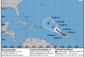 Sam Has Now Become a Major Hurricane