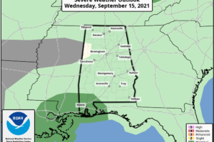 Cloudy, Wet Day For Alabama