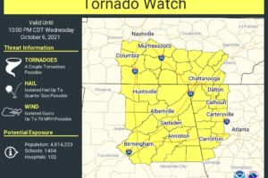 Tornado Watch Issued for the Northeast Quarter of North/Central Alabama Until 10 pm